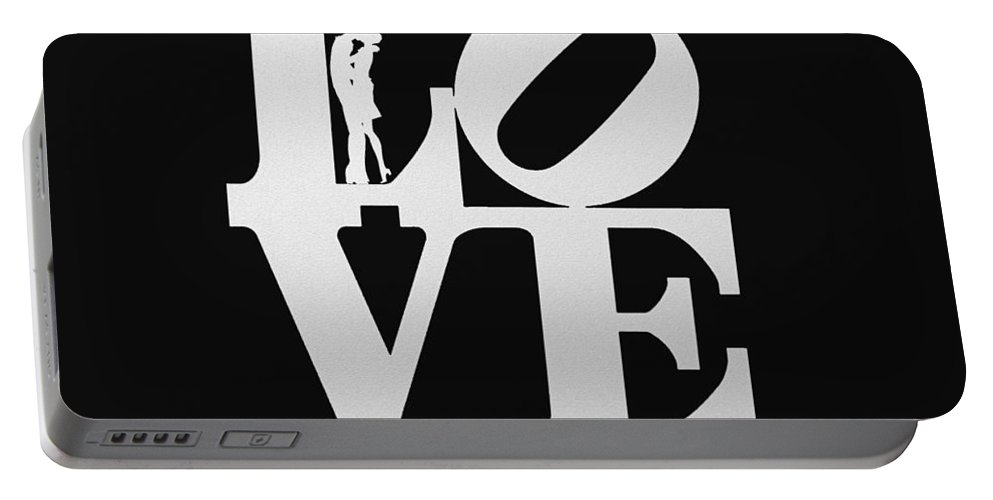 14 February Portable Battery Charger featuring the digital art Love Typography And Kissing Couple by World Art Prints And Designs