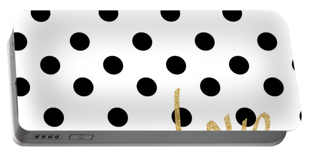 Love Portable Battery Charger featuring the digital art Love With Dots by South Social Studio