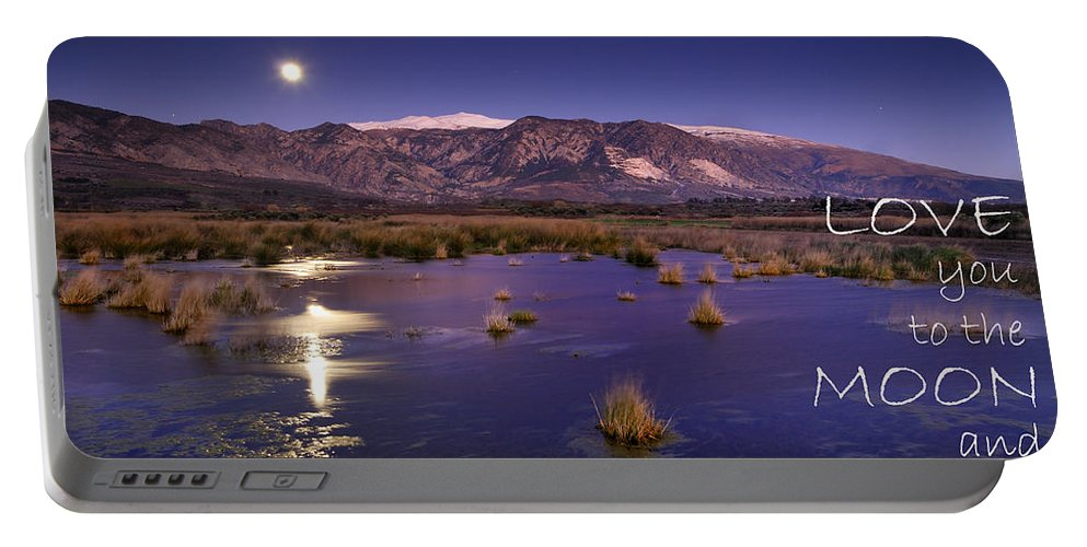 Love Portable Battery Charger featuring the photograph Love You To The Moon And Back by Guido Montanes Castillo