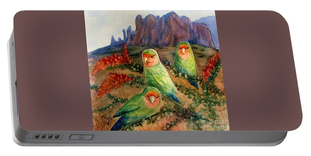 Birds Portable Battery Charger featuring the painting Lovebirds by Marilyn Smith