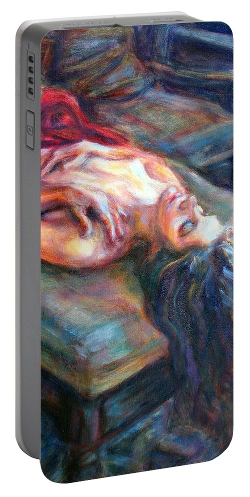 Impressionism Portable Battery Charger featuring the painting Loved by Quin Sweetman
