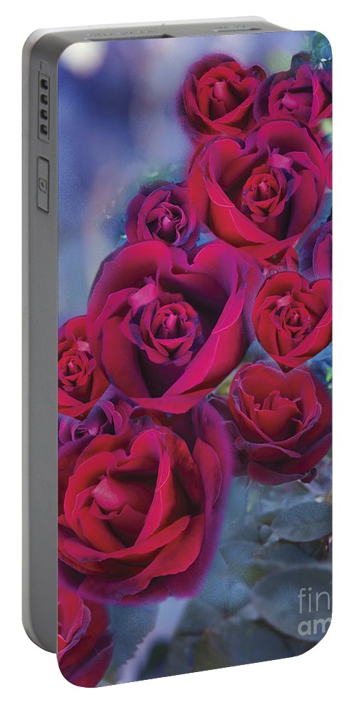 Abstract Portable Battery Charger featuring the digital art Loveflower Roses by MGL Meiklejohn Graphics Licensing