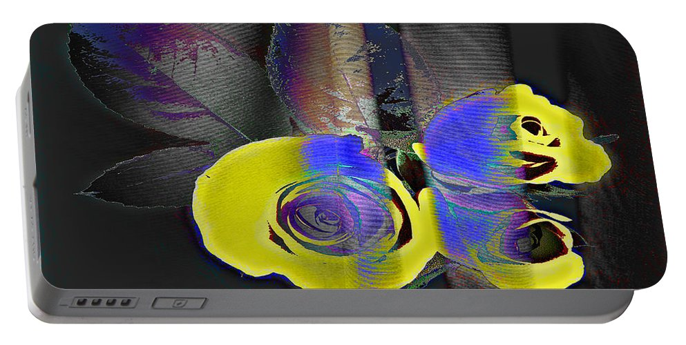 Yellow Rose Image Portable Battery Charger featuring the digital art Lovely II by Yael VanGruber