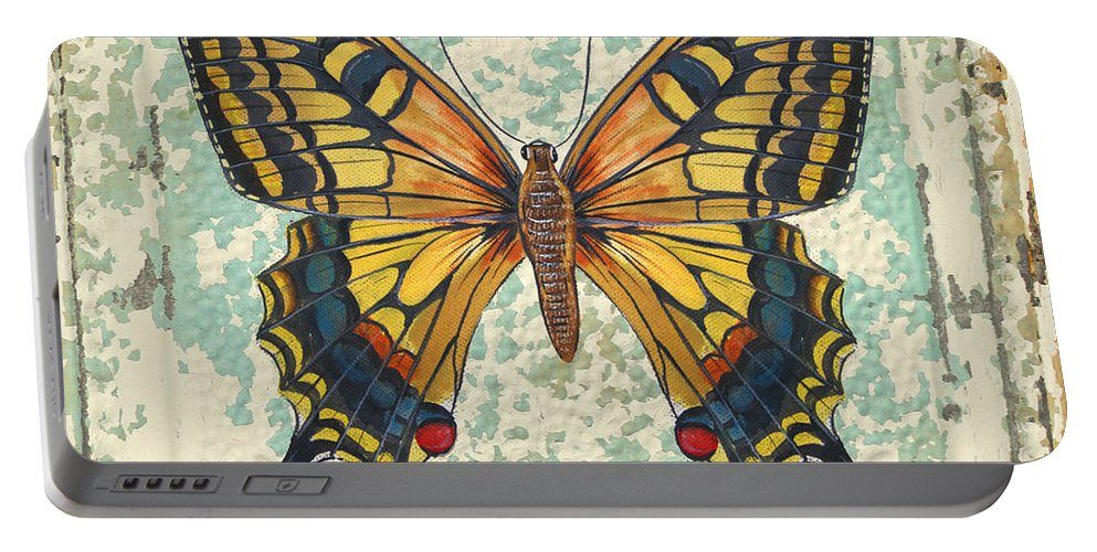 Acrylic Painting Portable Battery Charger featuring the painting Lovely Yellow Butterfly On Tin Tile by Jean Plout