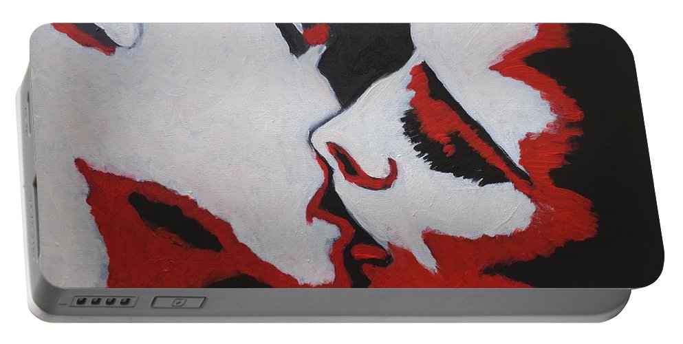 Acrylics Painting On Canvas Portable Battery Charger featuring the painting Lovers - Kiss 8 by Carmen Tyrrell