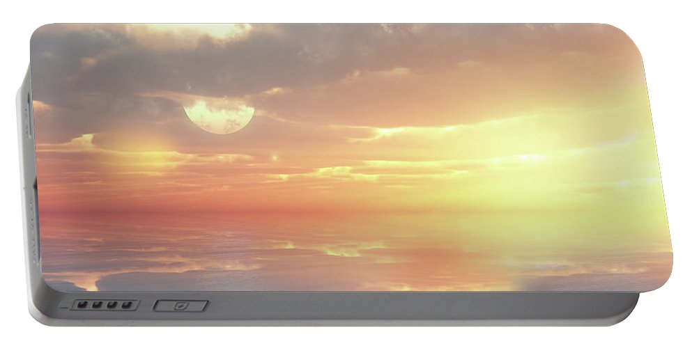 Sunset Portable Battery Charger featuring the digital art Lovers Ocean by Georgiana Romanovna