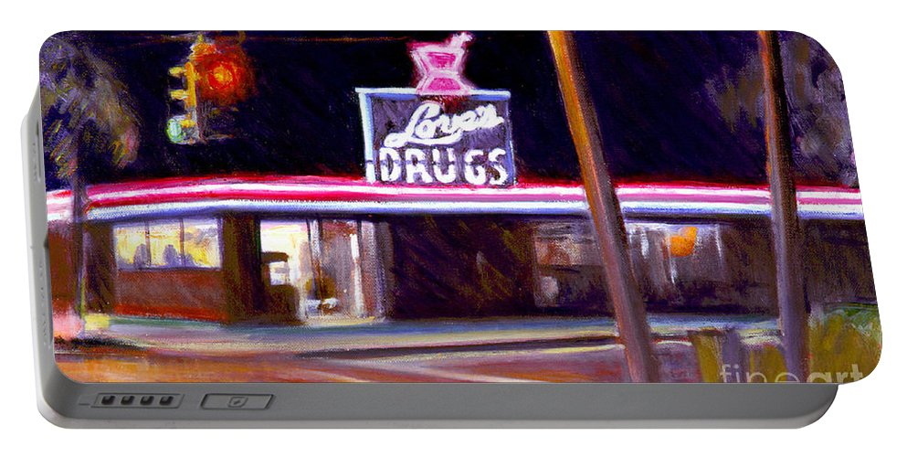 Delray Beach Portable Battery Charger featuring the painting Love's Drugs by Candace Lovely
