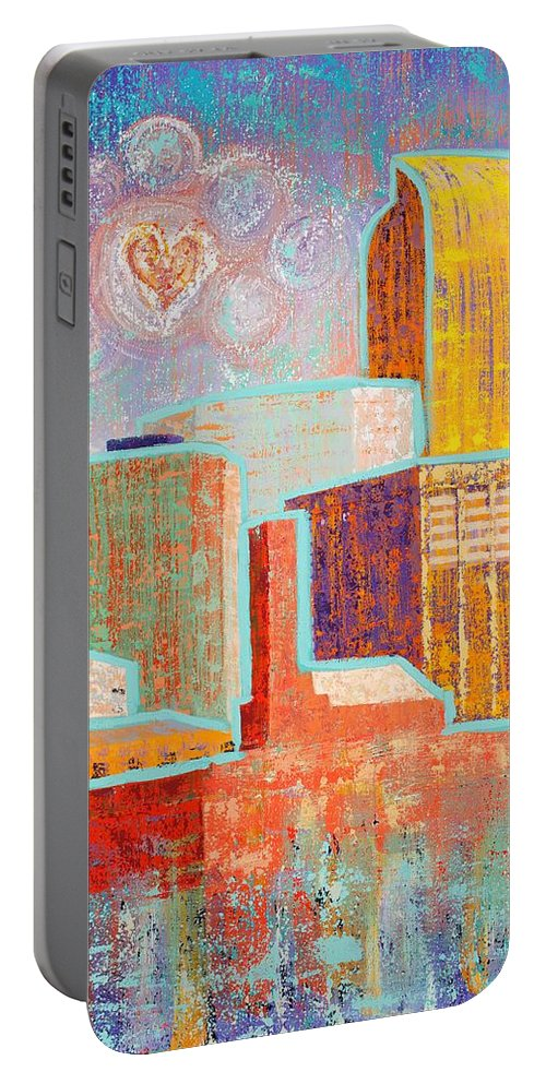 Cityscape Portable Battery Charger featuring the painting Loving It In Denver by Margaret Bobb