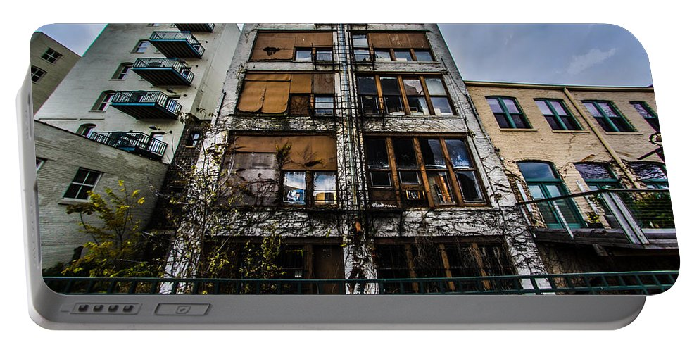Architecture Portable Battery Charger featuring the photograph Low Rent District by Randy Scherkenbach
