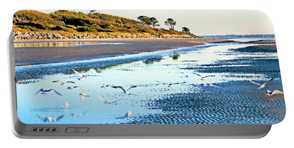 Low Tide Portable Battery Charger featuring the photograph Low Tide At Jekyll Island by Kristin Elmquist