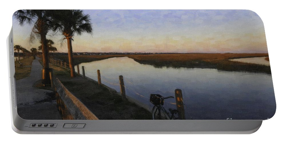 Lowcountry Winter Marsh Portable Battery Charger featuring the digital art Lowcountry Winter Marsh by Dale Powell