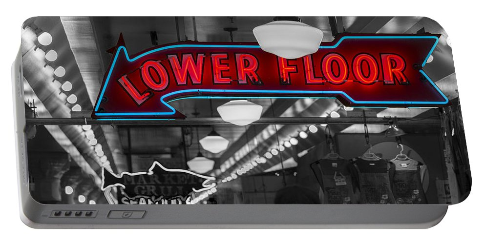 Sign Portable Battery Charger featuring the photograph Lower Floor Selective Black And White by Scott Campbell