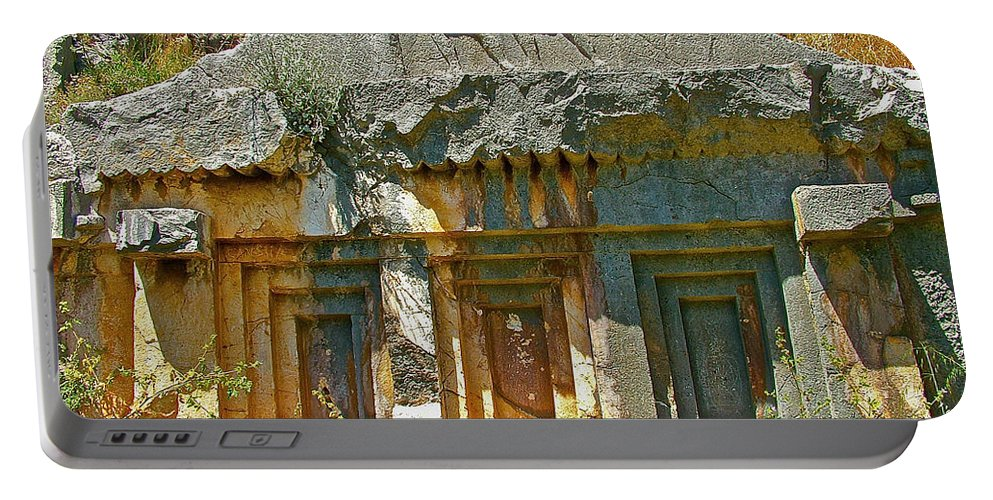 Lower-level Tomb In Myra Portable Battery Charger featuring the photograph Lower-level Tomb In Myra-turkey by Ruth Hager