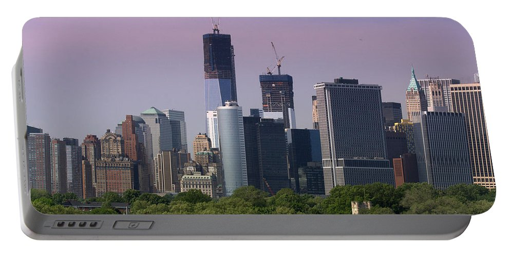 World Trade Center Portable Battery Charger featuring the photograph Lower Manhatten by Donna Walsh