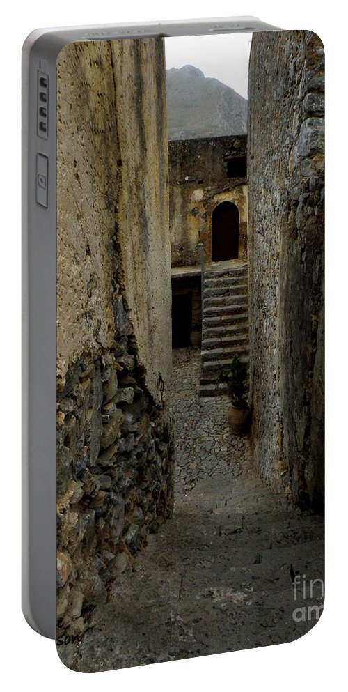 Monastery Portable Battery Charger featuring the photograph Lower Preveli Monastery Crete 2 by Lainie Wrightson