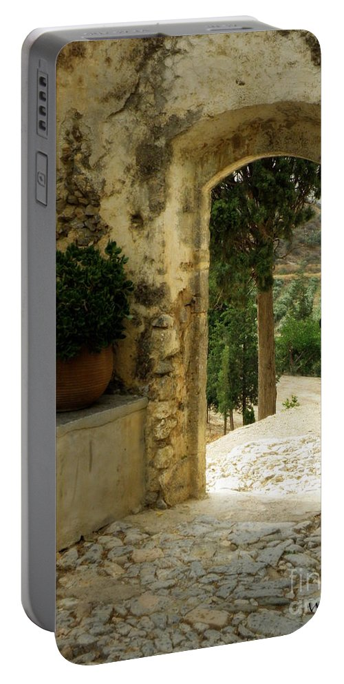 Monastery Portable Battery Charger featuring the photograph Lower Preveli Monastery Crete 3 by Lainie Wrightson