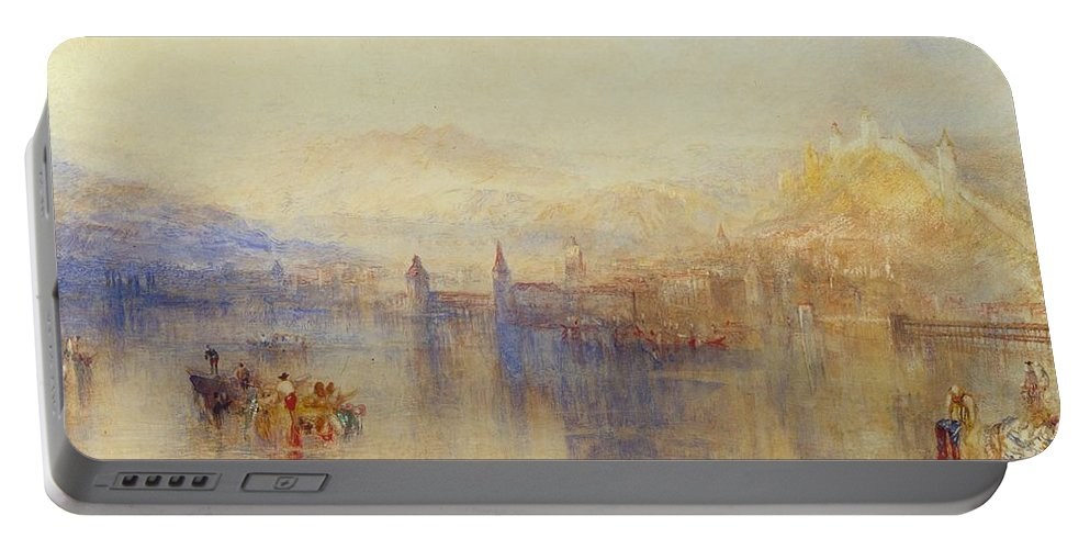 1851 Portable Battery Charger featuring the painting Lucerne From The Lake by JMW Turner