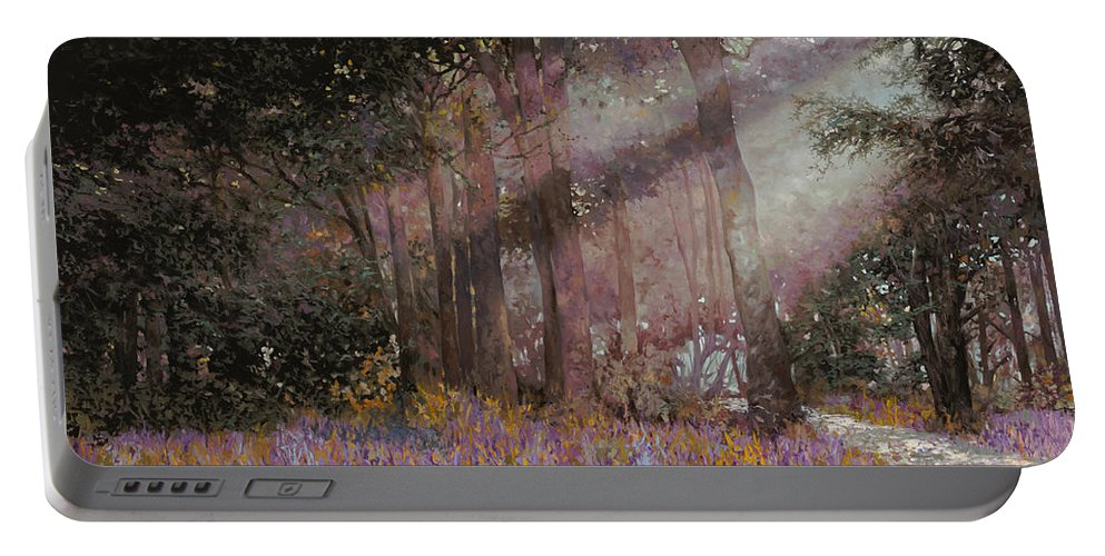 Wood Portable Battery Charger featuring the painting Luci by Guido Borelli