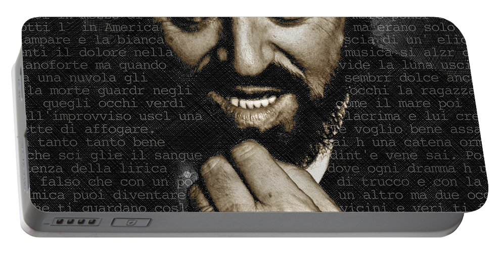 Luciano Pavarotti Portable Battery Charger featuring the painting Luciano Pavarotti by Tony Rubino