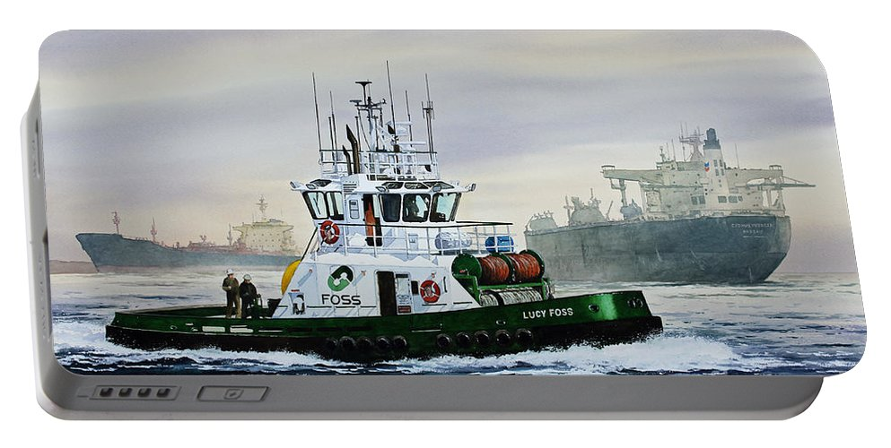 Tugboat Print Portable Battery Charger featuring the painting Lucy Foss by James Williamson