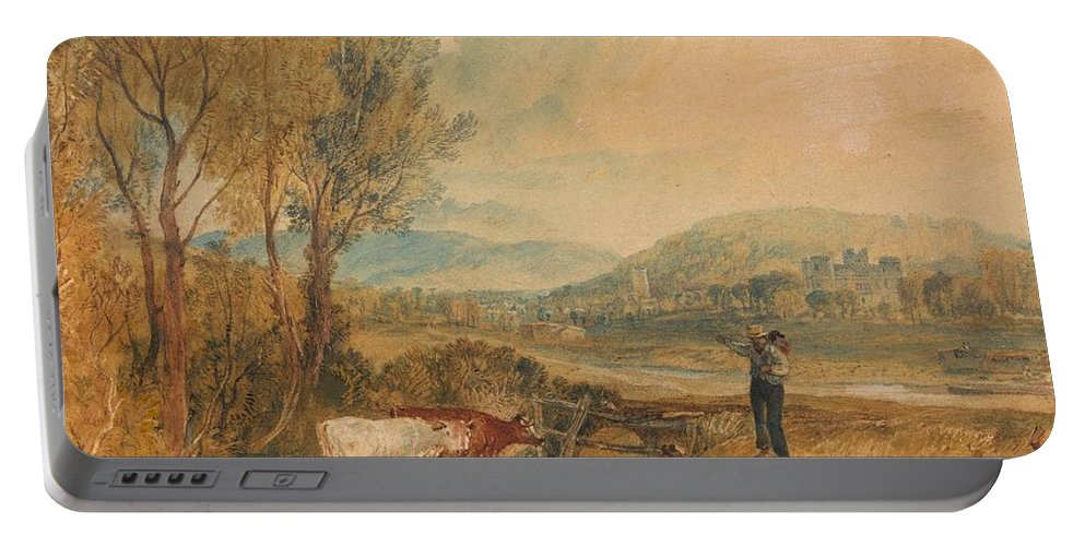 1820 Portable Battery Charger featuring the painting Lulworth Castle by JMW Turner