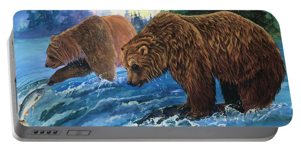 Grizzly Bear Portable Battery Charger featuring the painting Lunch Break by Sherry Shipley