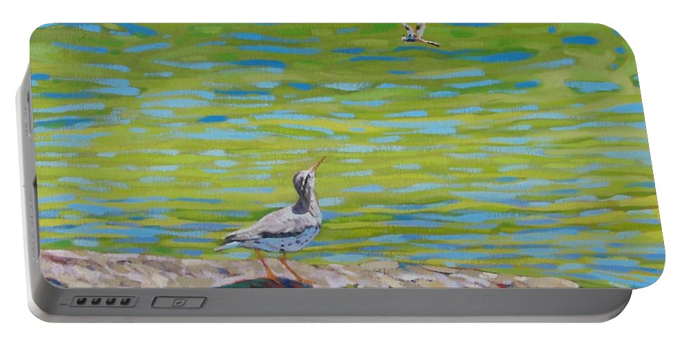 Spotted Sand Piper Portable Battery Charger featuring the painting Lunch? by Phil Chadwick