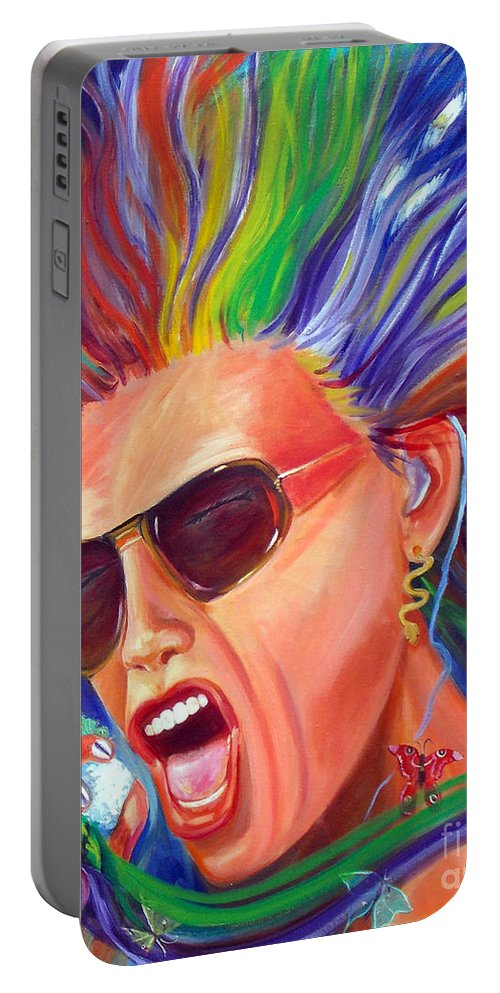Steven Tyler Portable Battery Charger featuring the painting Lunesta by To-Tam Gerwe