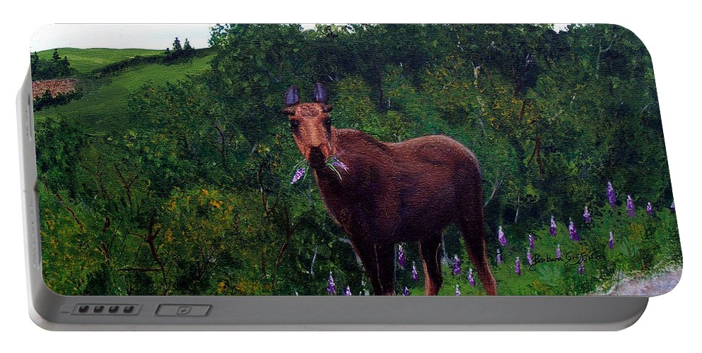 Barbara Griffin Portable Battery Charger featuring the painting Lupine Loving Moose by Barbara Griffin