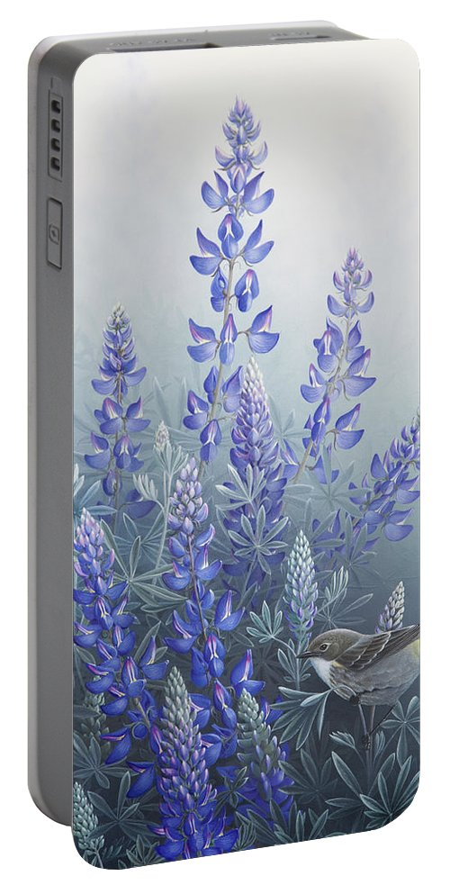 Bird Portable Battery Charger featuring the painting Lupine by Mike Stinnett