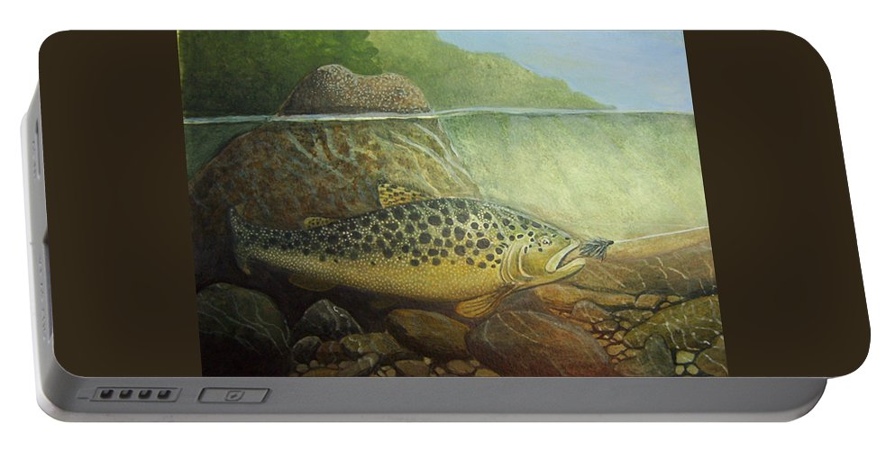 Rick Huotari Portable Battery Charger featuring the painting Lurking by Rick Huotari