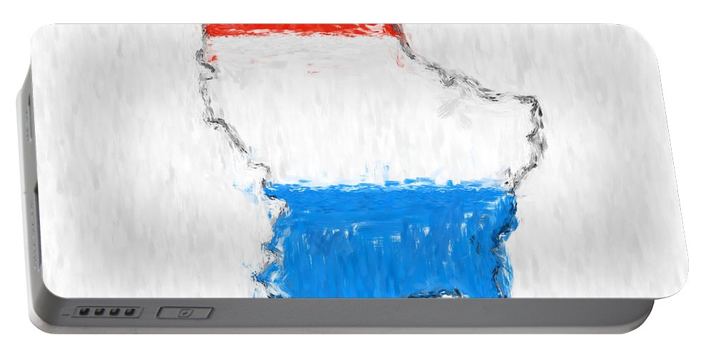 Luxembourg Portable Battery Charger featuring the photograph Luxembourg Painted Flag Map by Antony McAulay