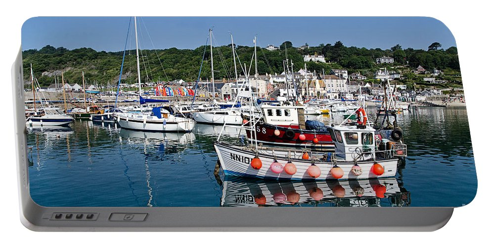 Lyme Regis Portable Battery Charger featuring the photograph Lyme Regis Harbour On A July Morning by Susie Peek