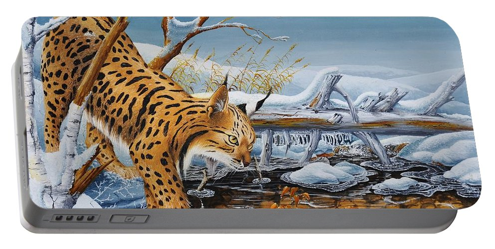 Nature Portable Battery Charger featuring the painting Lynx by MICHAUX Michel