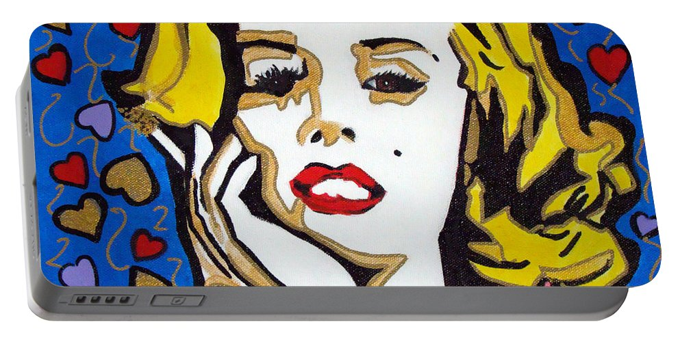Pop-art Portable Battery Charger featuring the painting M M by Silvana Abel