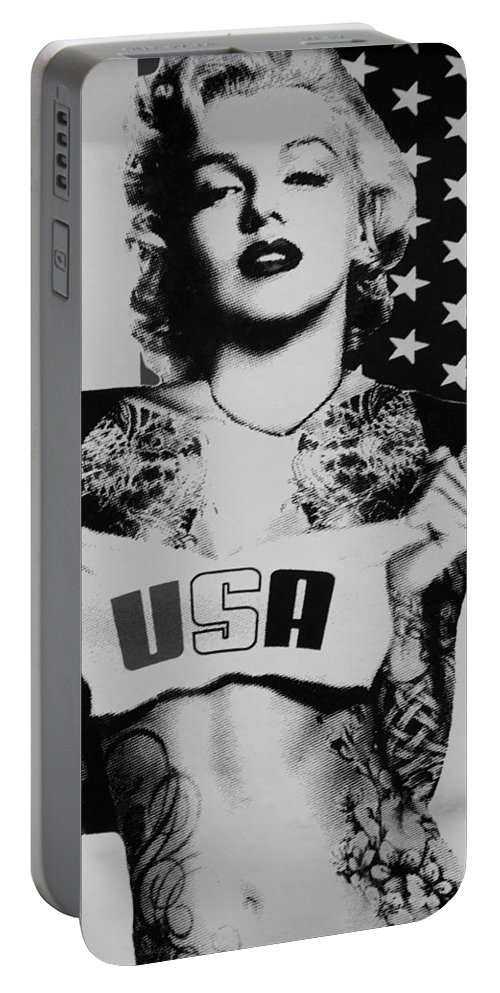 Marilyn Monroe Portable Battery Charger featuring the photograph M M U S A In Black And White2 by Rob Hans
