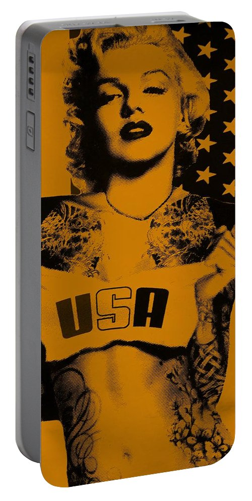 Marilyn Monroe Portable Battery Charger featuring the photograph M M U S A In Orange by Rob Hans
