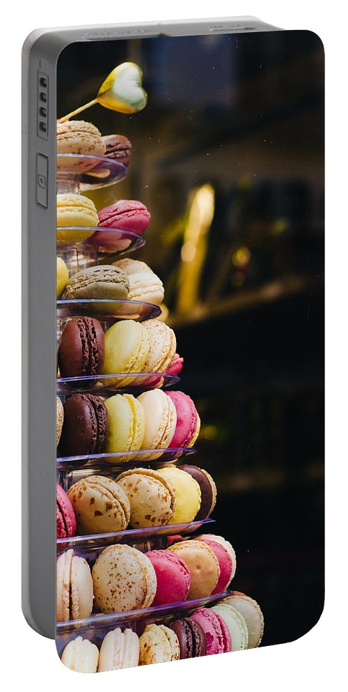 Bakery Portable Battery Charger featuring the photograph Macarons by Pati Photography