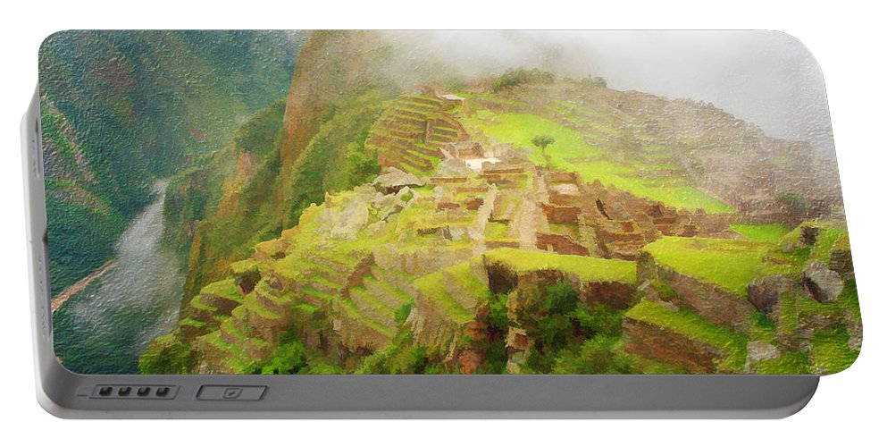Machu Picchu Portable Battery Charger featuring the photograph Machu Picchu Textured 2 by Chris Thaxter