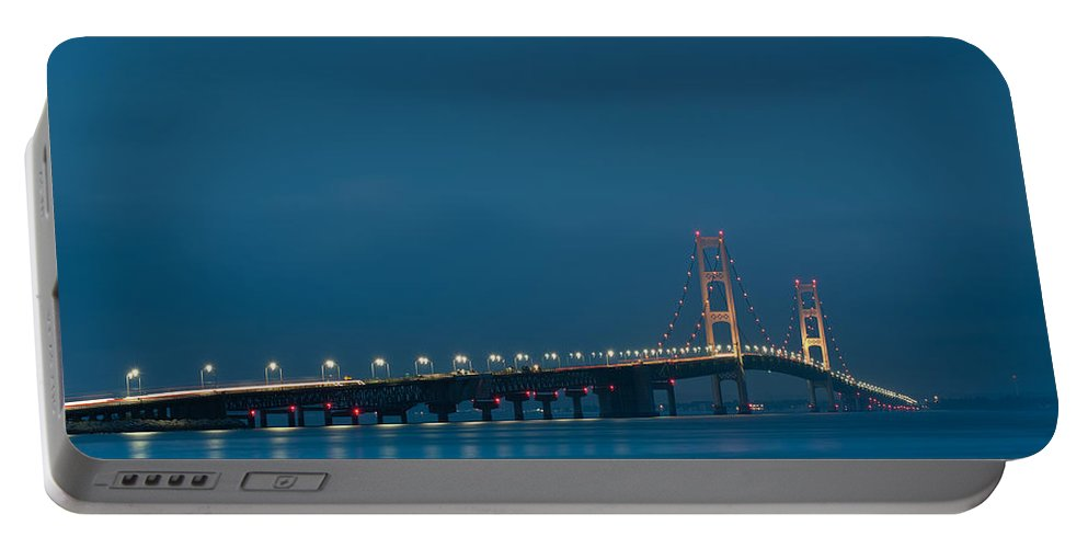 Dusk Portable Battery Charger featuring the photograph Mackinac Bridge by Sebastian Musial