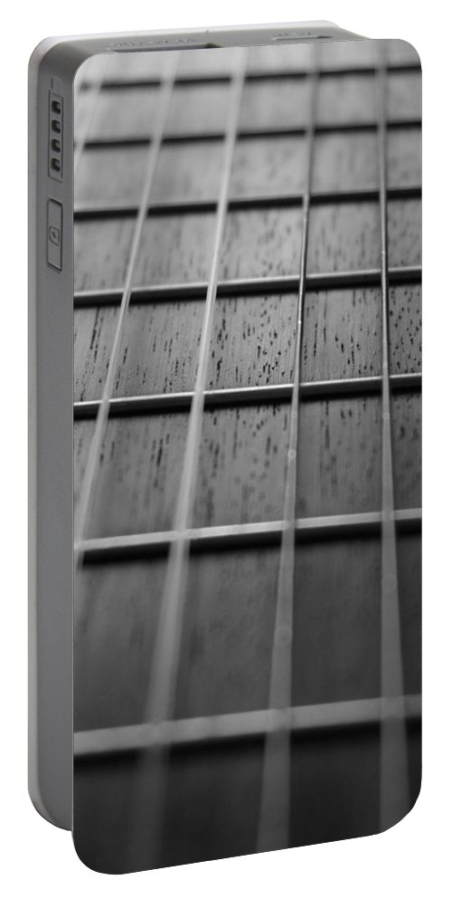 Digital Photograph Portable Battery Charger featuring the photograph Macro Guitar Strings by Laurie Pike