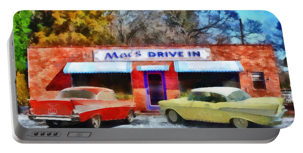 Clemson Portable Battery Charger featuring the painting Mac's Drive In by Lynne Jenkins