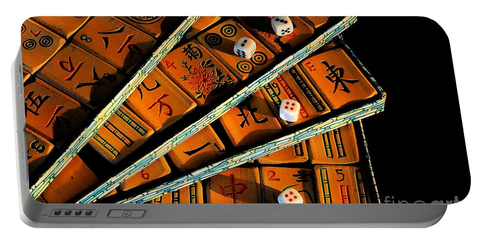 Still Life Portable Battery Charger featuring the photograph Mad For Mahjong by Lois Bryan