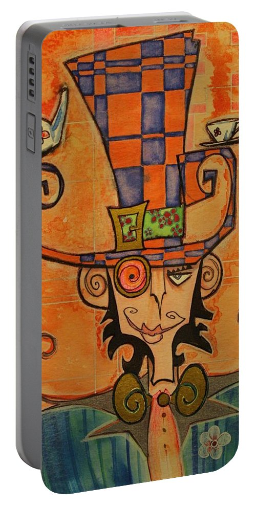 Mad Hatter Portable Battery Charger featuring the drawing Mad Hatter by Ellen Henneke