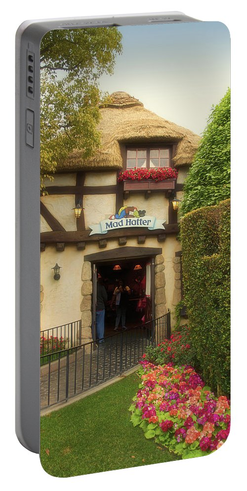 Disney Portable Battery Charger featuring the photograph Mad Hatter Fantasyland Disneyland 01 by Thomas Woolworth