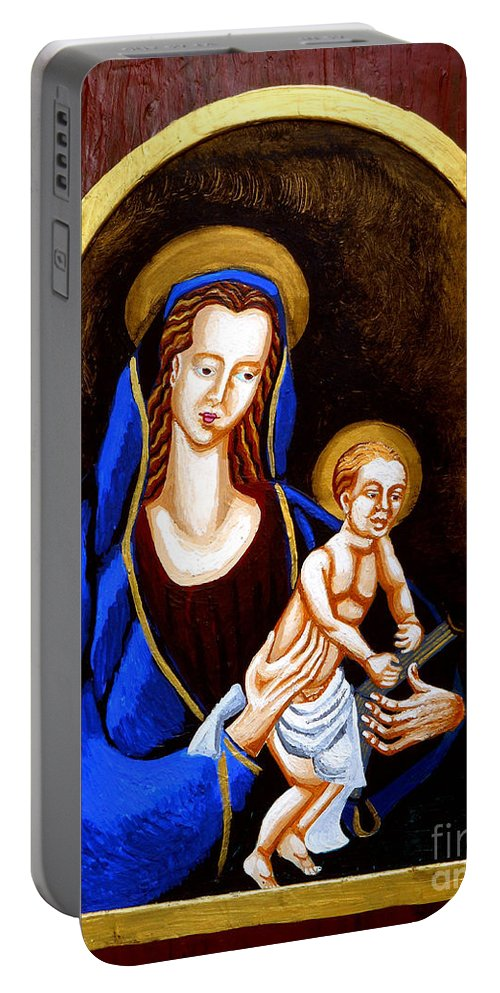Madonna And Child Portable Battery Charger featuring the painting Madonna And Child by Genevieve Esson