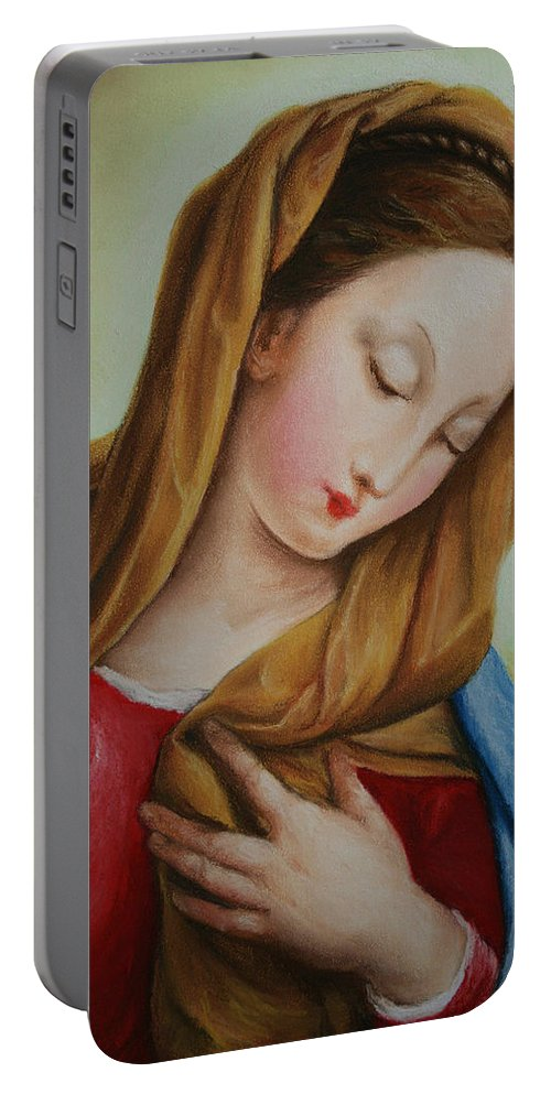 Madonna Portable Battery Charger featuring the pastel Madonna by Marna Edwards Flavell