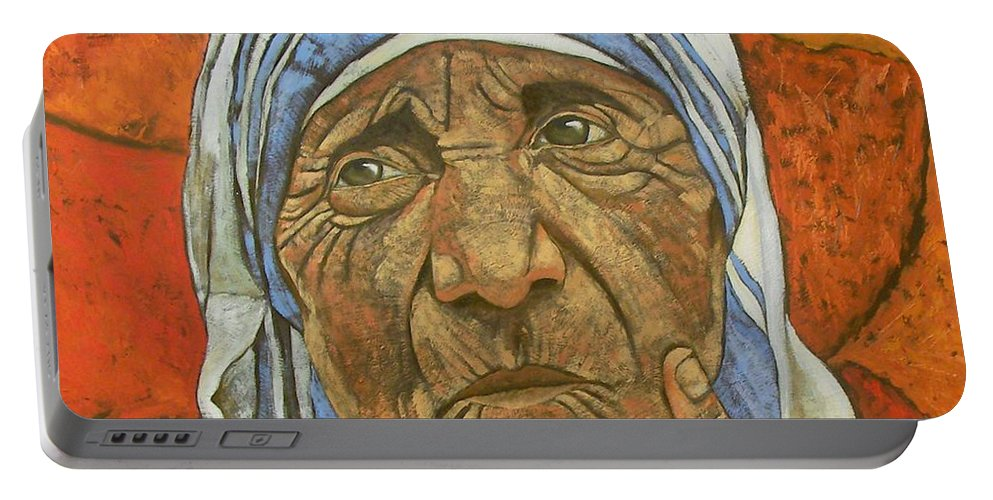 Portrait Portable Battery Charger featuring the painting Madre Teresa Di Calcutta by Giosi Costan