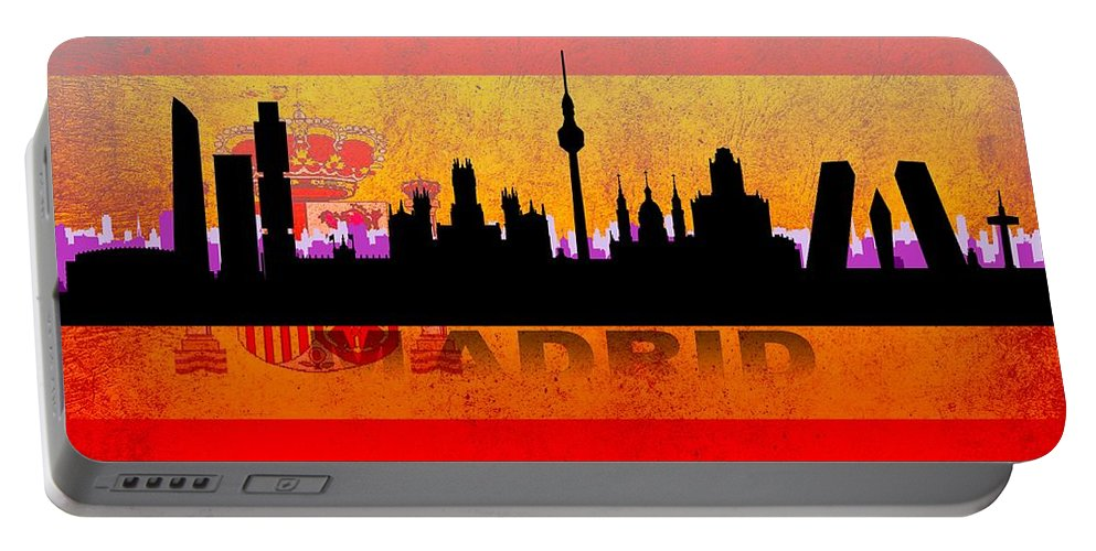 Architecture Portable Battery Charger featuring the digital art Madrid City by Don Kuing