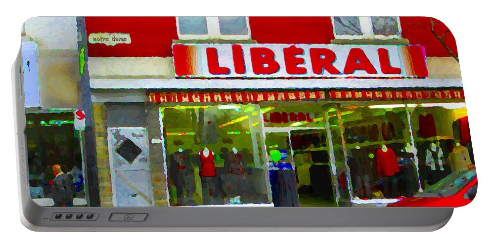 Magazin Liberal Portable Battery Charger featuring the painting Magazin Liberal Dress Shop On Rue Notre Dame Montreal St.henri City Scenes Carole Spandau by Carole Spandau